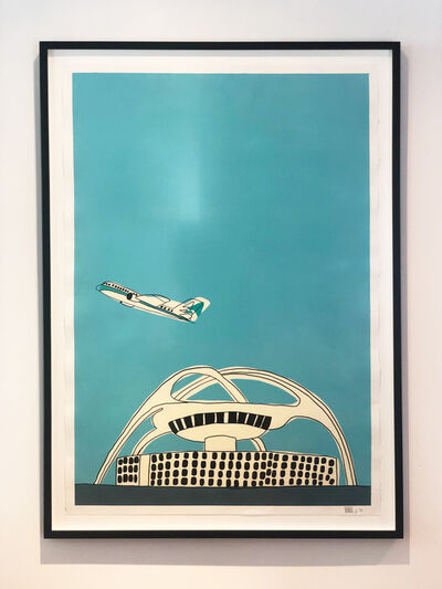 "Marz Junior, '""Airplane & LAX Airport"" -  teal vertical and framed  ', 2019"