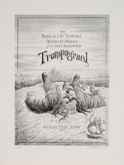 "Sandow Birk, 'Trumpagruel #1 (title page), From the Portfolio ""The Horrible & Terrible Deeds & Words of the Very Renowned Trumpagruel""', 2017"