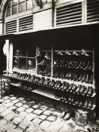 Eugène Atget, 'Etal des Chassures au Marché des Carmes, Place Maubert [Stall of Shoes at the Marché des Carmes, Place Maubert].', circa 1940