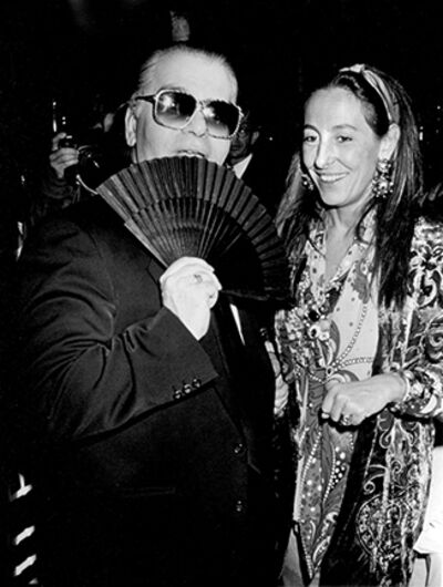 """Ron Galella, 'Karl Lagerfeld and Miuccia Prada, """"7th on Sale""""  Benefit for AIDS, New York', 1990"""