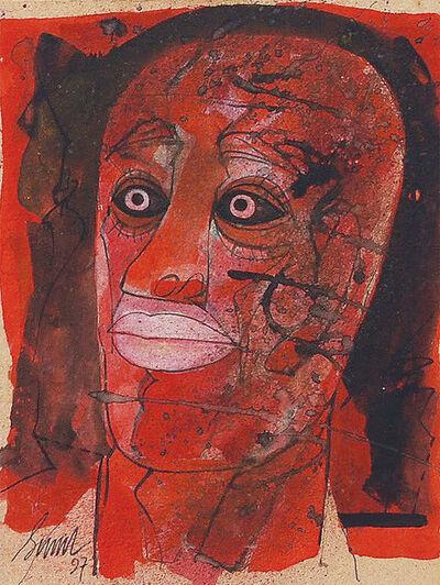 """Sunil Das, 'Head Series II, Mixed Media on Board, by Padmashree Artist Sunil Das """"In Stock""""', 1997"""
