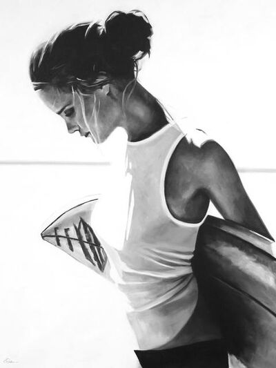"Cindy Press, '""Pull Me Back"" black and white oil painting of woman carrying surfboard behind', 2020"