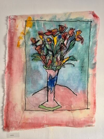 Joel Handorff, 'Acrylic painting of flowers on Tulle with thread: 'Little Ghost'', 2018