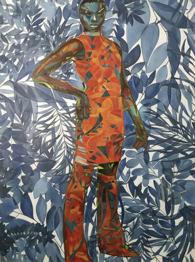 Wole Lagunju, 'Woman in indigo cool blue ', 2020