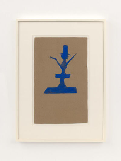 Bill Traylor, 'Blue Man with Hat atop Construction', 1939-1942
