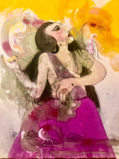 Rina Banerjee, 'Contemplate she,she is the occasion, not tangential,nor a catch all, not behind, not pliable or replaceable,a paradoxical left and right,she is in the center like saffron sun drenched in purple robes, the beginning and origin who's willingness will flower', 2020