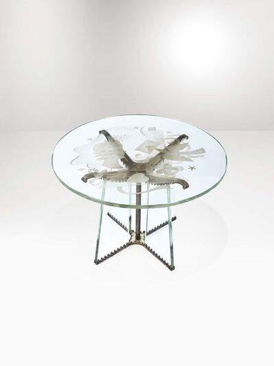 Luigi Brusotti, 'A low table with a cut glass structure and brass details', 1940 ca.