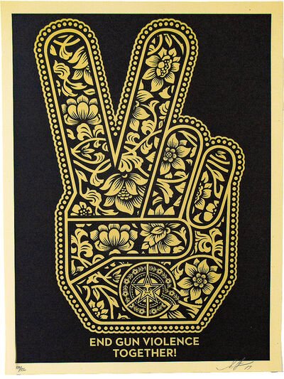 Shepard Fairey, 'END GUN VIOLENCE TOGETHER (Peace Fingers)', 2019
