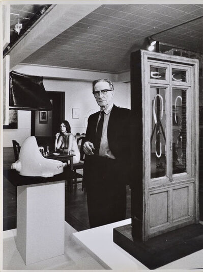 Julian Wasser, 'Marcel Duchamp standing beside Fountain with Eve Babitz in background, Duchamp Retrospective, Pasadena Art Museum,', 1963