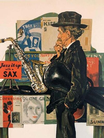 Norman Rockwell, 'Man Looking at Saxophone', 1970-1979