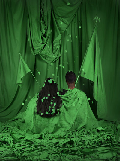 Stephanie Syjuco, 'Chromakey Aftermath (Standard Bearers)', 2019