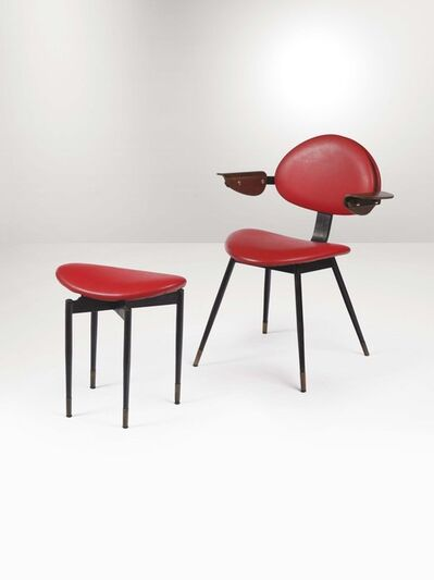 Carlo Mollino, 'A chair and ottoman with a lacquered iron, brass and curved wood structure', 1959