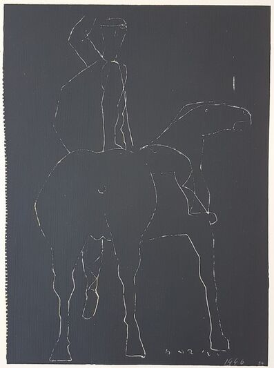 """Marino Marini, 'Black Scratchboard - From """"A Suite of Sixty-three Re-creations of Drawings and Sketches in Many Mediums"""" ', 1968"""