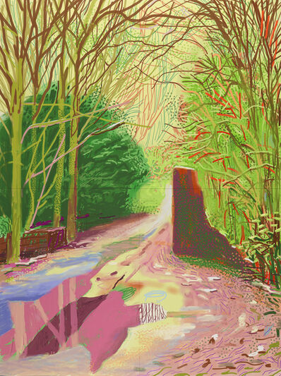 David Hockney, 'The Arrival of Spring in Woldgate, East Yorkshire in 2011 (twenty eleven) – 2 January (1147)', 2011