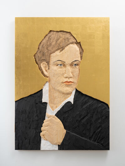 Stephan Balkenhol, 'Man with Black Suit in front of Golden Background ', 2016