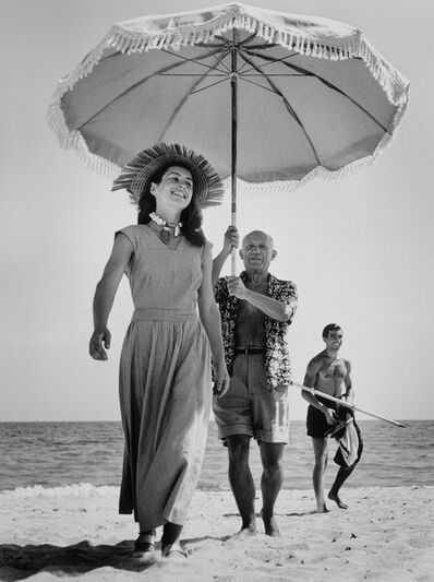 Robert Capa, 'Pablo Picasso and Françoise Gilot. In the background the painter's nephew Javier Vilato. Golfe-Juan, France. ', 1948