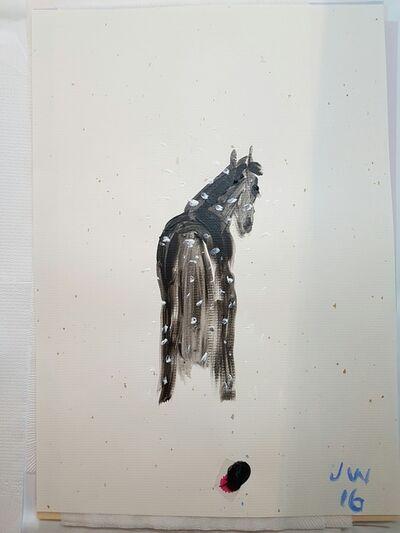 Jenny Watson, 'Old black Horse in Snow', 2017
