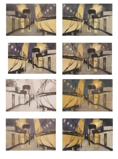 Hubert Arthur Finney, 'Life boats and deck at night, set of 8 lithographs', 1935