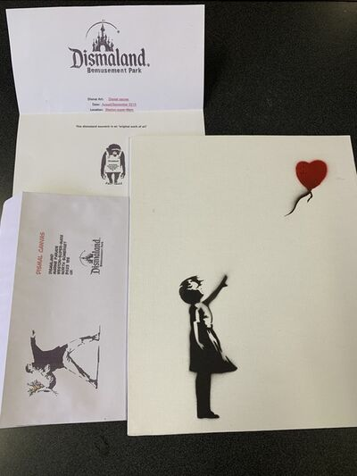 "Banksy, 'BANKSY DISMALAND ""BALLOON GIRL"" WITH COA', 2015"