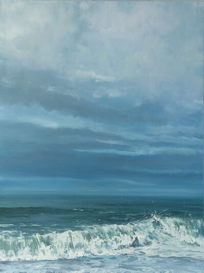 """Annie Wildey, '""""Evening Sky"""" Oil painting of crashing wave with big sky in blues and greens', 2010-2018"""