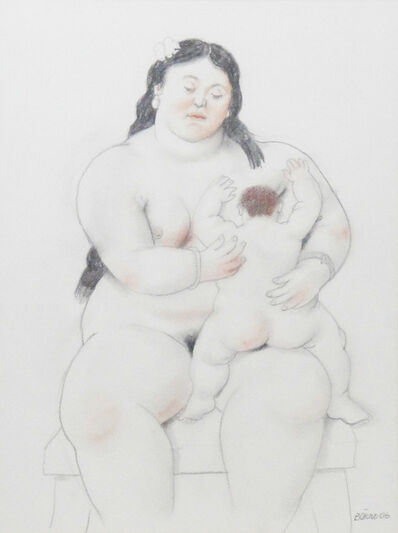Fernando Botero, 'Breastfeeding mom with white bow', 2006