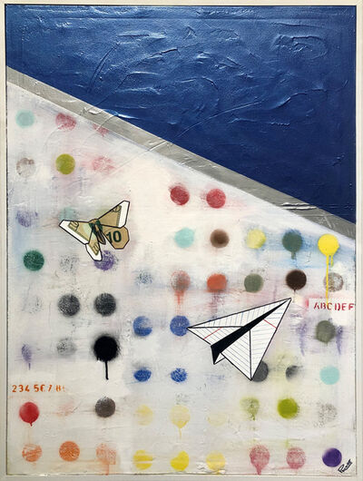 Guy Stanley Philoche, 'Metallic Blue with Paper Airplane and $10 Bill Butterfly', 2019