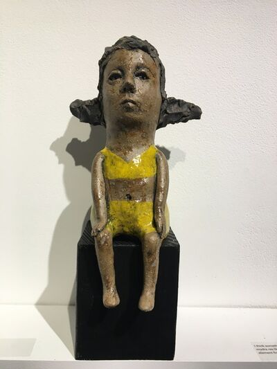 Ashley Benton, 'Ceramic figure on wood block: 'Hush up and hold me tight'', 2021