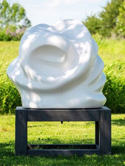 Tim Forbes, 'Twins - white, swirling, gestural abstract, resin, outdoor sculpture', 2019