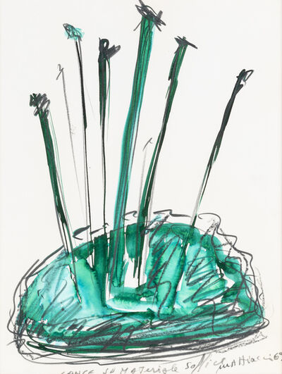 Eliseo Mattiacci, 'Lance su materiale soffice', 1969