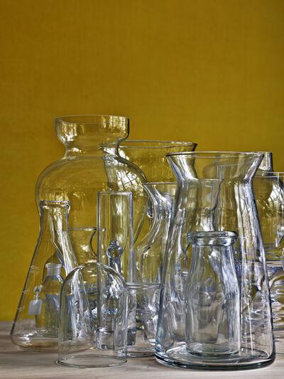 Abelardo Morell, 'Glassware Vertical Still Life Against Ochre Wall', 2019