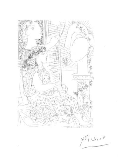 Pablo Picasso, 'Deux Femmes Regardant une Tete Sculptée  from the Vollard Suite', 1933