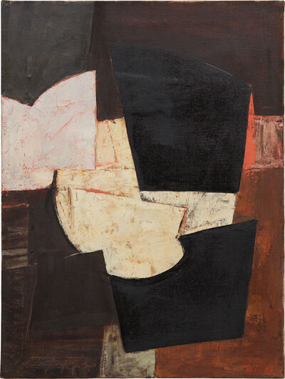 Adrian Heath, 'Composition, brown, black & pink', 1955