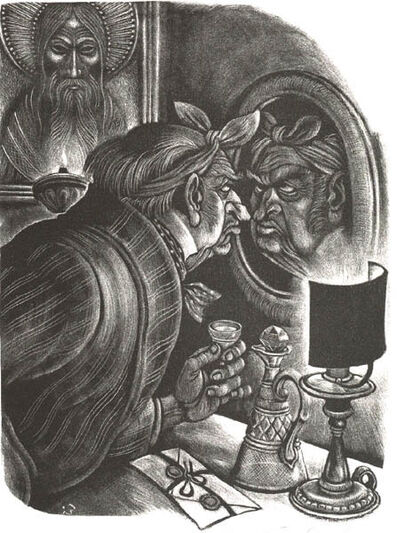 Fritz Eichenberg, 'Brothers Karamazov [The Man in the Mirror]', 1949