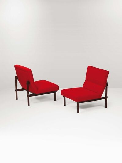 Ico and Luisa Parisi, 'A pair of mod. 869 armchairs with a wooden structure and fabric upholstery', 1950 ca.