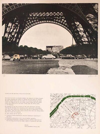 Javacheff Christo, 'Paris, Eiffel Tower Edifice Public Empaqueté, Project Ecole Militaire Lithograph', 20th Century