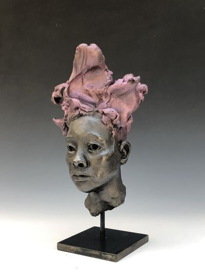 BOB CLYATT, 'Small Woman's Head - Gray & Pink Hair', 2020