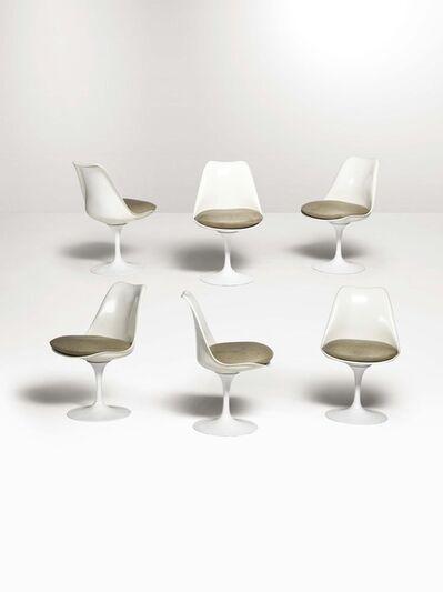 Eero Saarinen, 'Six Tulip 151C chairs in fiberglass with leather seats', 1970 ca.