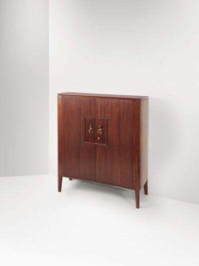 Lucio Fontana, 'A bar cabinet with a wooden structure and a glass top', 1950 ca