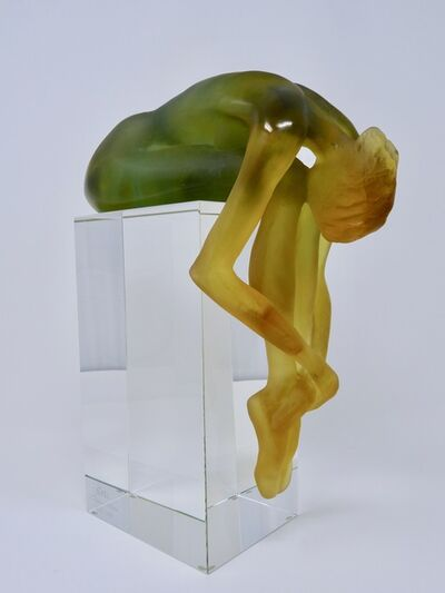 Daum, 'Yellow and Green Ballerina by Daum Cystal Made in France Designed by SML 087/375', ca. 1980