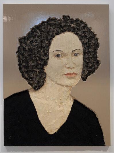 Stephan Balkenhol, 'Relief Frau vor beigem Hintergrund', 2010