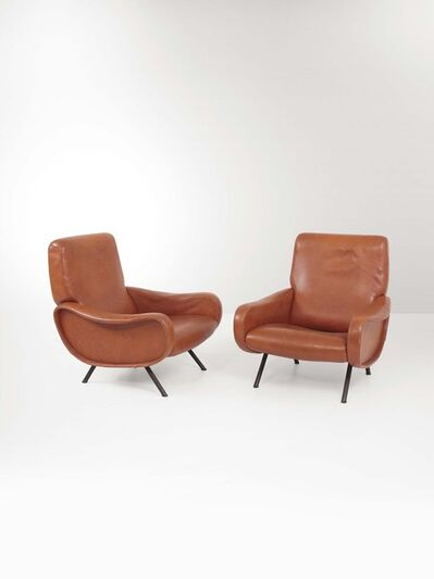 Marco Zanuso, 'A pair of Lady armchairs with a wooden structure, lacquered metal stands and skai upholstery', 1950 ca.