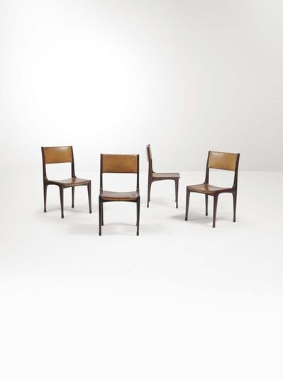 Carlo de Carli, 'Four mod. 693 chairs with a wooden structure and leather upholstery', 1959