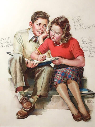 Frances Tipton Hunter, 'Girl Helping Admiring Boy with his Math Homework', 1940