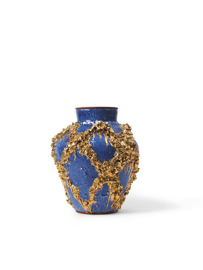 Judy Ledgerwood, 'Large Slip Motif Vase with Cobald Blue, Metallic Gold + Red', 2018