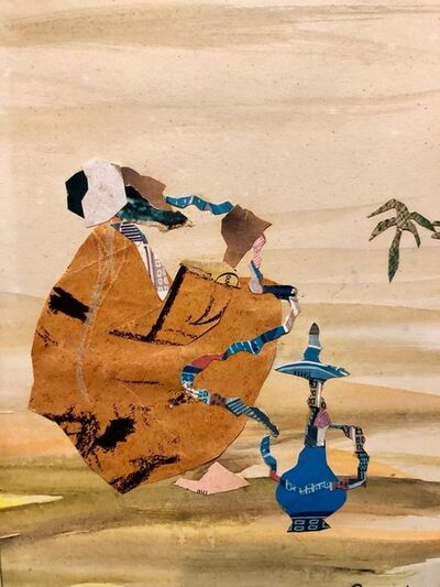 Judith Yellin Ginat, 'Israeli Abstract Figure, Hookah Pipe Smoker, Torn Paper Collage Painting Bezalel', 1960-1969