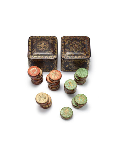 Qing Dynasty, 'AN IMPERIAL SET OF IVORY 'XIANGQI' PIECES WITH PAINTED LACQUER COVERED BOXES'
