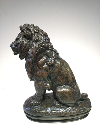 Antoine-Louis Barye, 'Seated Lion, No 2', ca. 1856