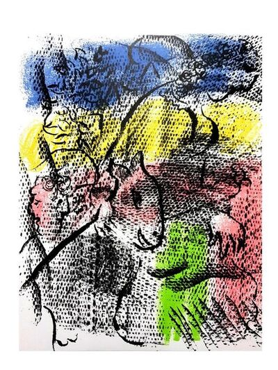 Marc Chagall, 'Marc Chagall - Couple With a Goat - Original Lithograph', 1970
