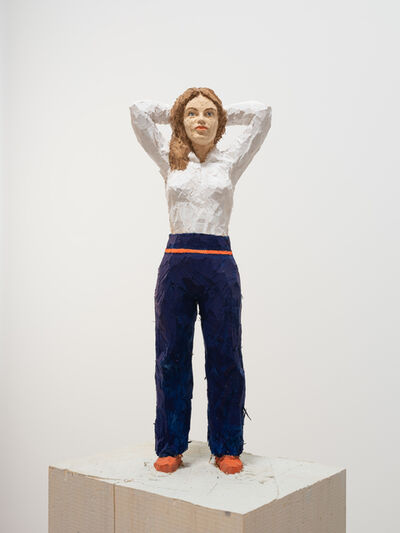 Stephan Balkenhol, 'Woman with White Shirt and Blue Pants', 2019