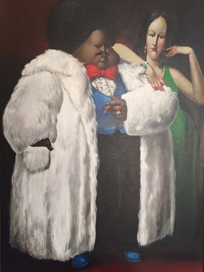 Leandro Velasco, 'Man in White Fur Coat with Lady in Green', 1977